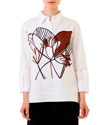 Woodcut Floral-Graphic Cotton Blouse, White