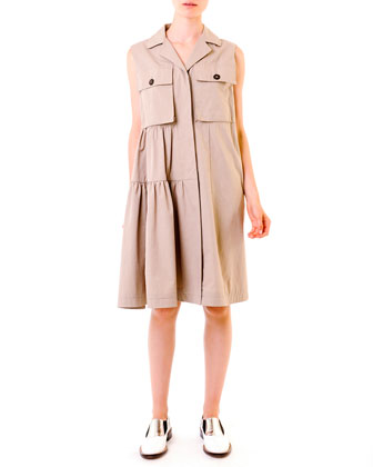 Compact Cotton Safari Shirtdress, Khaki