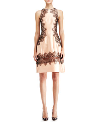 Embroidered A-Line Halter Dress, Blush/Black