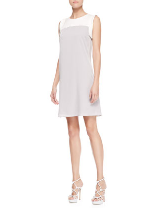Sleeveless Colorblock Cady Dress, Limestone/Ivory