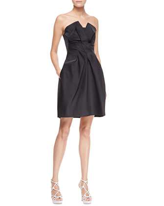 Peaked Strapless Taffeta Dress, Black