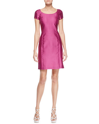 Short-Sleeve Gabardine Dress, Bougainvillea
