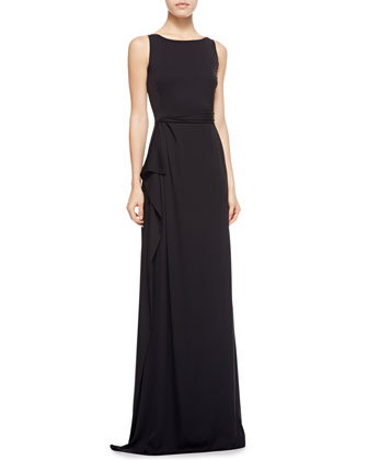 Side-Draped Light Cady Gown, Black