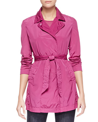 Stretch Tech Fabric Trench Coat & Cap-Sleeve Knit Top