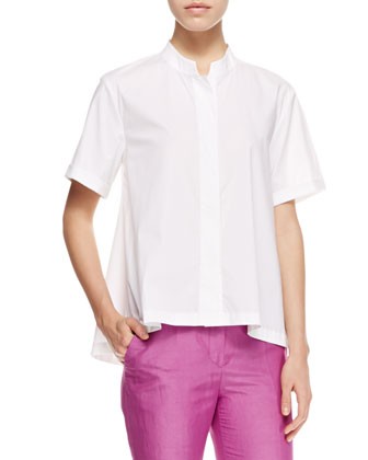 Short-Sleeve Poplin Blouse, White