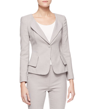 One-Button Jacket with Peplum & Cropped Suiting Pants