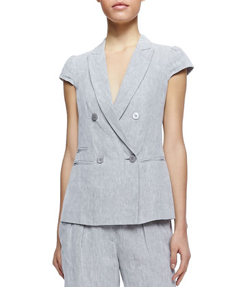 Cap-Sleeve Linen Suiting Jacket and Cuffed Cropped Linen Pants