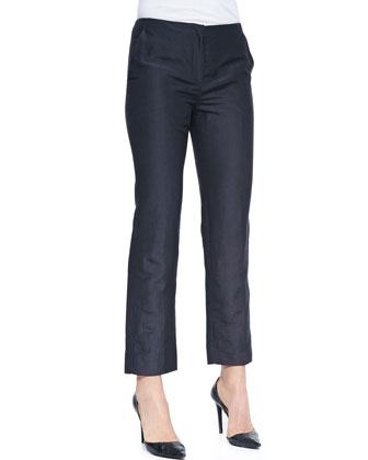 Cropped Silk Linen Pants