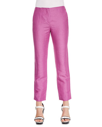 No-Waist Linen-Silk Pants, Bougainvillea