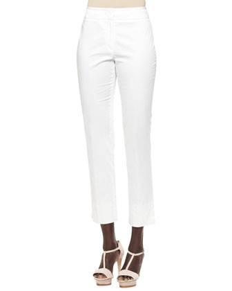 Textured Slub Pocket Blazer, Sleeveless Striped Top & Cropped Slim-Leg Pants