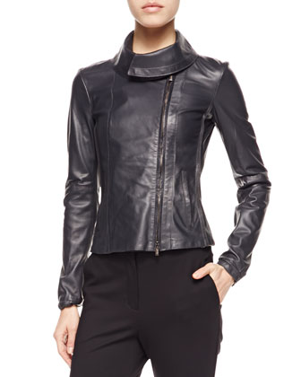 Large-Collared Leather Jacket, Sleeveless Striped Tank & Cropped ...