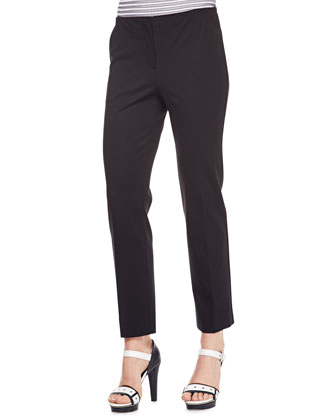 Cropped Double-Face Jersey Pants, Black