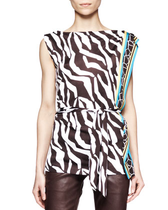 Zebra-Print Jersey Sleeveless Top