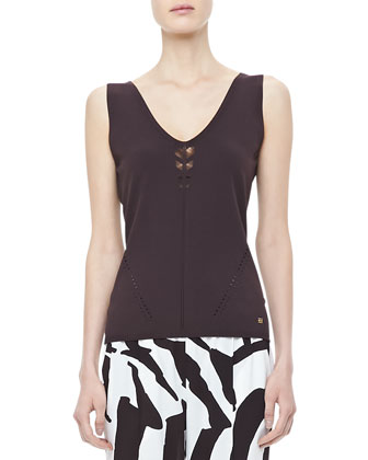 Sleeveless Crochet-Detail Top, Mocha