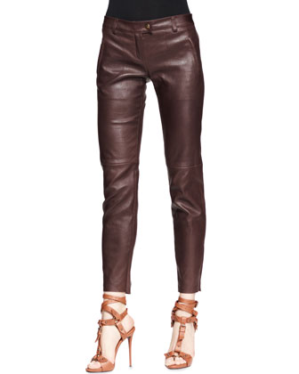 Zebra-Print Jersey Sleeveless Top & Leather Stretch Zip-Front Pants