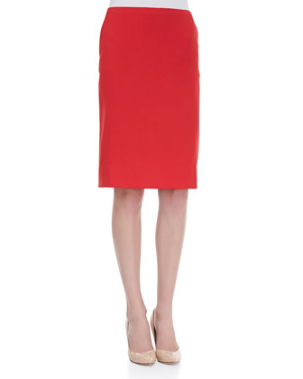 Kick-Pleat Wool Pencil Skirt, Poppy