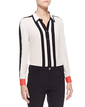 Striped Button-Down Blouse, White/Black