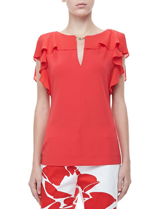 Ruffle-Sleeve Silk Top, Poppy