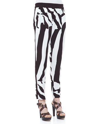 Zebra-Print Pull-On Pants