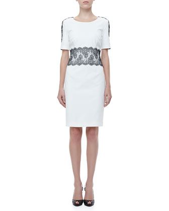 Lace-Trim Half-Sleeve Dress, White/Black
