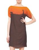 Giraffe-Print Boat-Neck Dress, Sunset/Brown