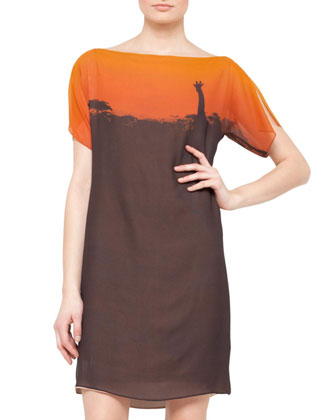 Giraffe-Print Boat-Neck Dress, Sunset/Brown