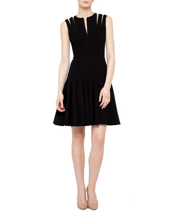 Double-Face Wool Zip-Shoulder Flare Dress, Black