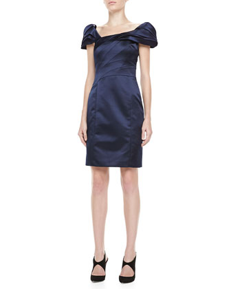 Pleated-Bodice Duchesse Dress, Blue