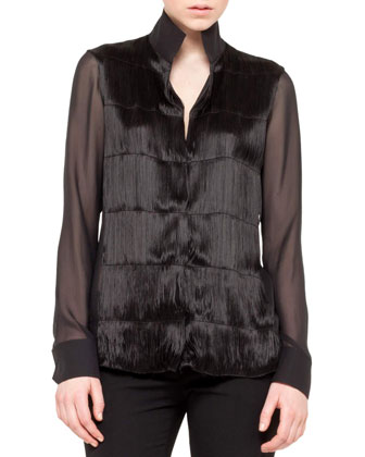 Long-Sleeve Fringe Front Tunic, Black