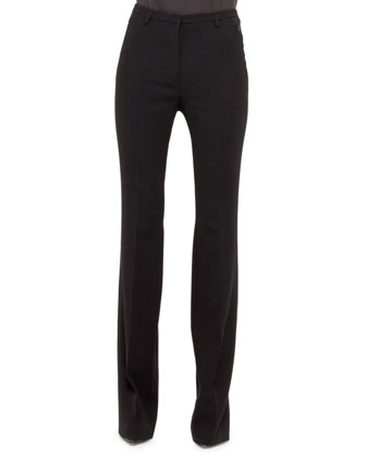 Farrah Slight Boot-Cut Pants, Black