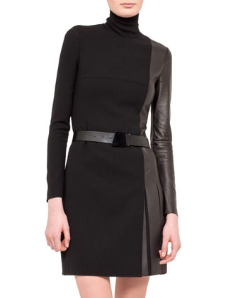 Wool/Leather Turtleneck Dress, Black