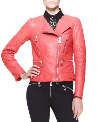 Collarless Quilted Moto Jacket, Reade Polka-Dot Blouse & Barbican Skinny ...
