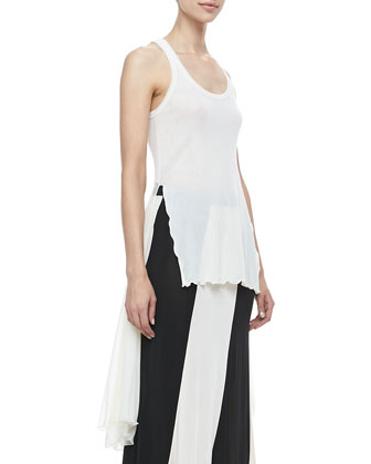 Sheer High-Low Solid Tank, Cream