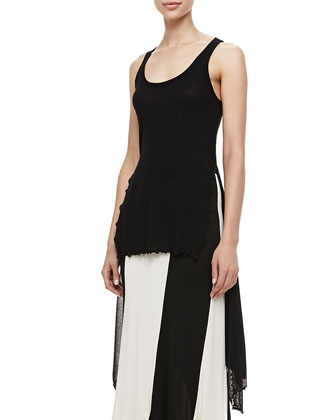 Sheer High-Low Solid Tank & Jersey Paneled Skirt
