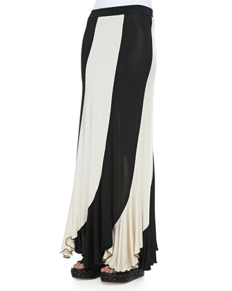 Sheer High-Low Solid Tank & Jersey Paneled Maxi Skirt