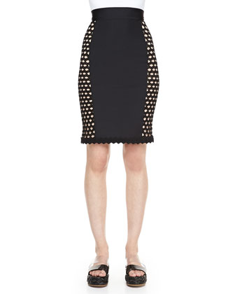 Side-Crochet Fitted Skirt, Black