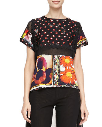 Mixed-Print Short-Sleeve Tee, Multi