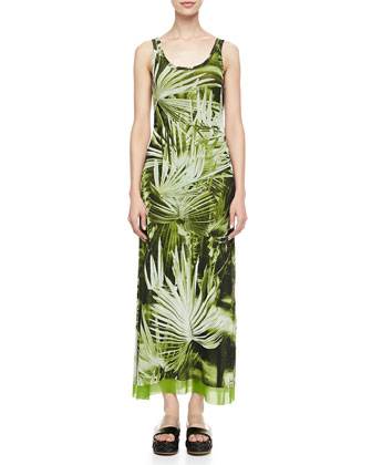 Long Fern-Print Tank Dress, Green