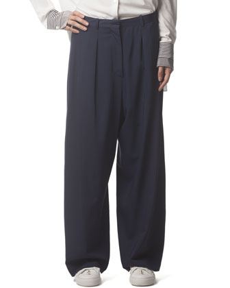 Wide-Leg Trousers, Ink Blue
