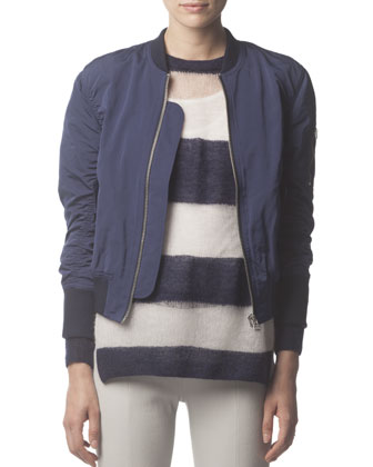 Zip-Up Tech Fabric Bomber Jacket, Mohair-Blend Striped Long-Sleeve Sweater ...