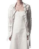 Slit Leather Jacket, White