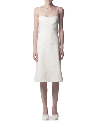 Spaghetti-Strap Cotton Midi Dress, White