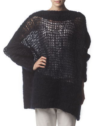 Oversized Knit Sweater, Midnight Blue