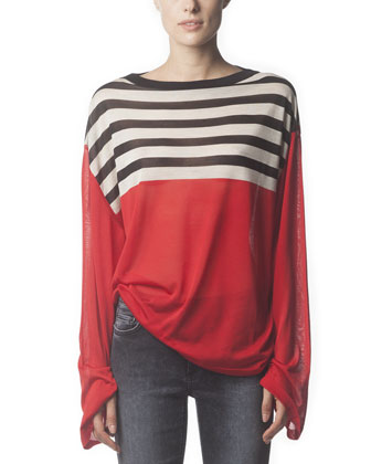 Long-Sleeve Striped Silk Top, Poppy Red