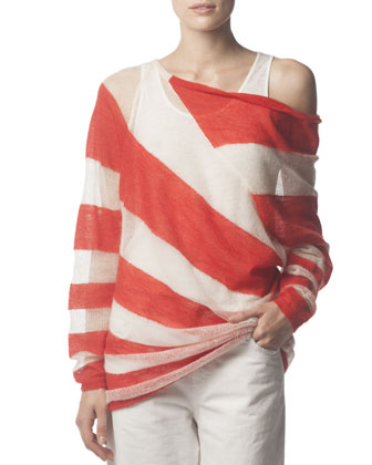 Asymmetric Striped Mohair-Blend Wide-Neck Sweater & Distressed Ripped Jeans