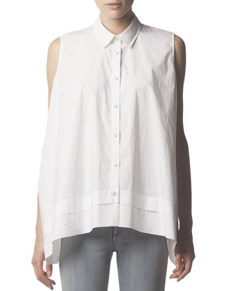 Sleeveless Collared Button-Down Blouse, White