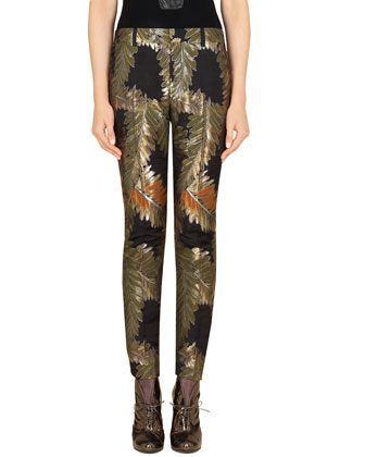 Fern Jacquard Pants, Black/Olive/Rust