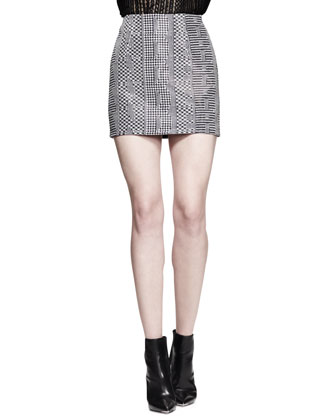 Boxy Cutout-Logo T-Shirt and High-Waist Menswear Mini Skirt