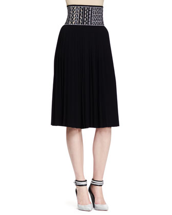 Short-Sleeve Buttoned Crop Top and Logo-Waist Pleated Skirt