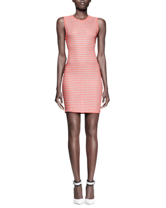 Fitted Optical-Stripe Tank Dress